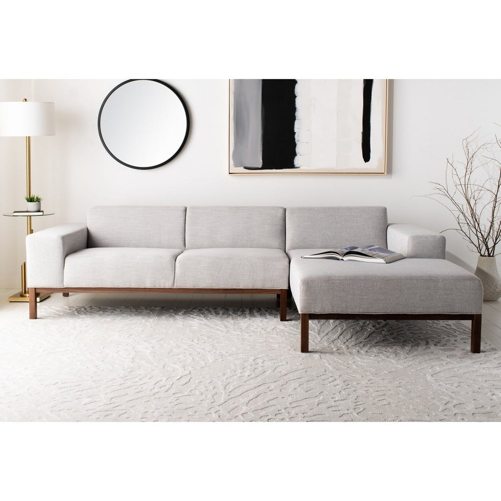 Safavieh Couture Dove Mid-Century Sectional - Light Grey / Brown - RoomsandDecor.com