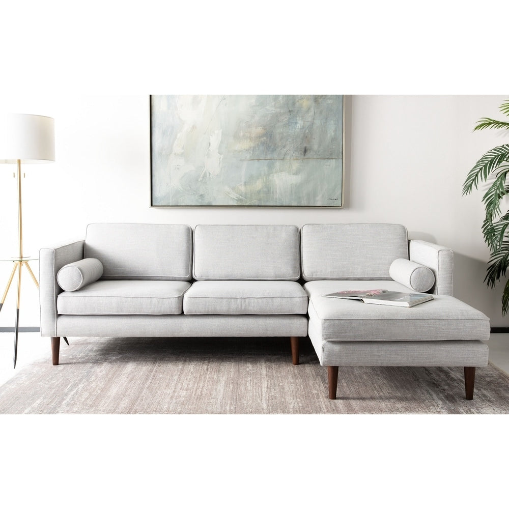 Safavieh Couture Dulce Mid-Century Sectional Chaise Sofa - Light Grey / Brown - RoomsandDecor.com