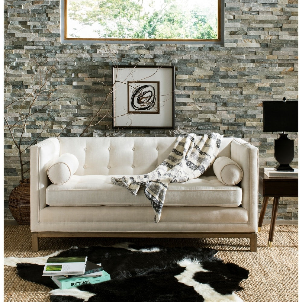 Cream Linen/Metal/Wood Tufted Sofa with Arm Pillows - RoomsandDecor.com