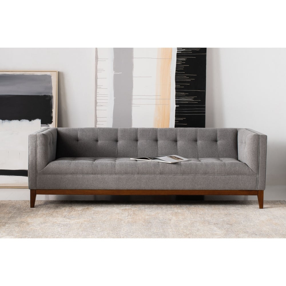 Garnet Linen Button Tufted Sofa