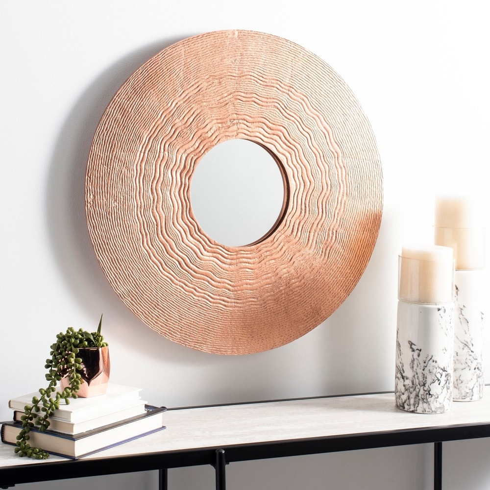 Copper 25-inch Round Decorative Mirror