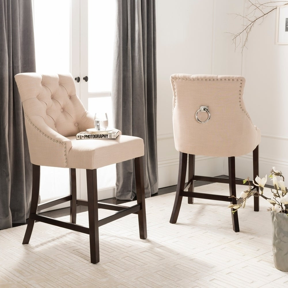 26- Inch Eleni Beige/ Espresso Tufted Counter Stool (Set of 2)