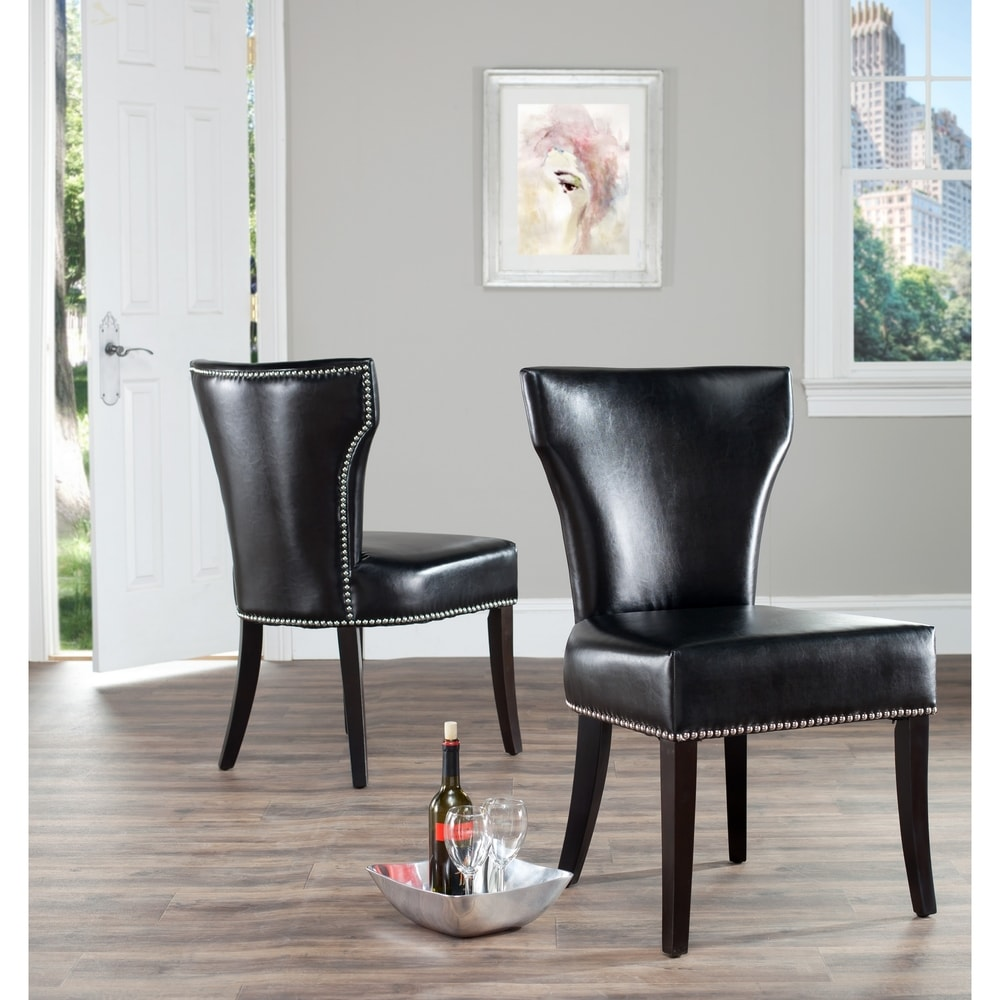 Safavieh Dining Matty Black Bi-Cast Leather Nailhead Dining Chairs (Set of 2)