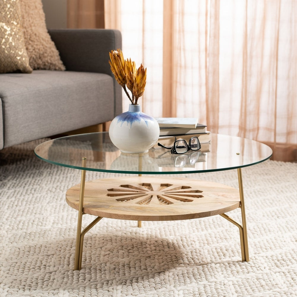 Flora Round Natural Wood and Glass Coffee Table