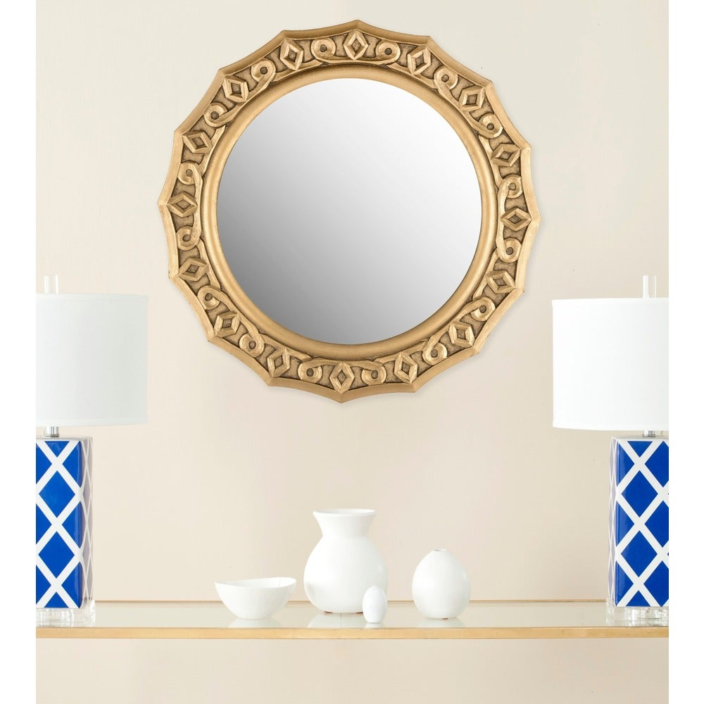 Gossamer Lace Gold 25-inch Round Decorative Mirror - RoomsandDecor.com