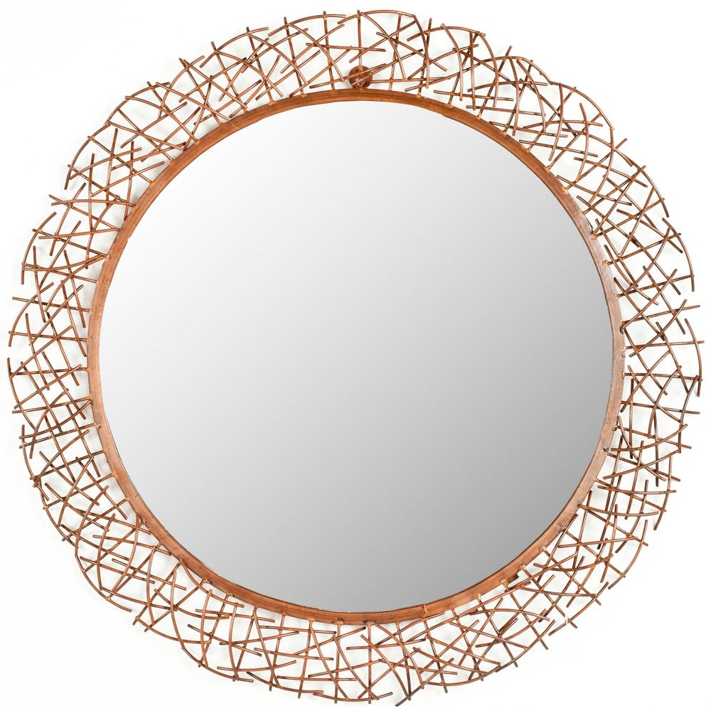 Safavieh Handmade Art Twigs Copper 29-inch Round Decorative Mirror - RoomsandDecor.com
