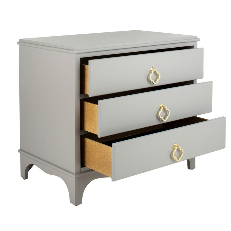Hannon Nightstand - Grey / Brass - RoomsandDecor.com