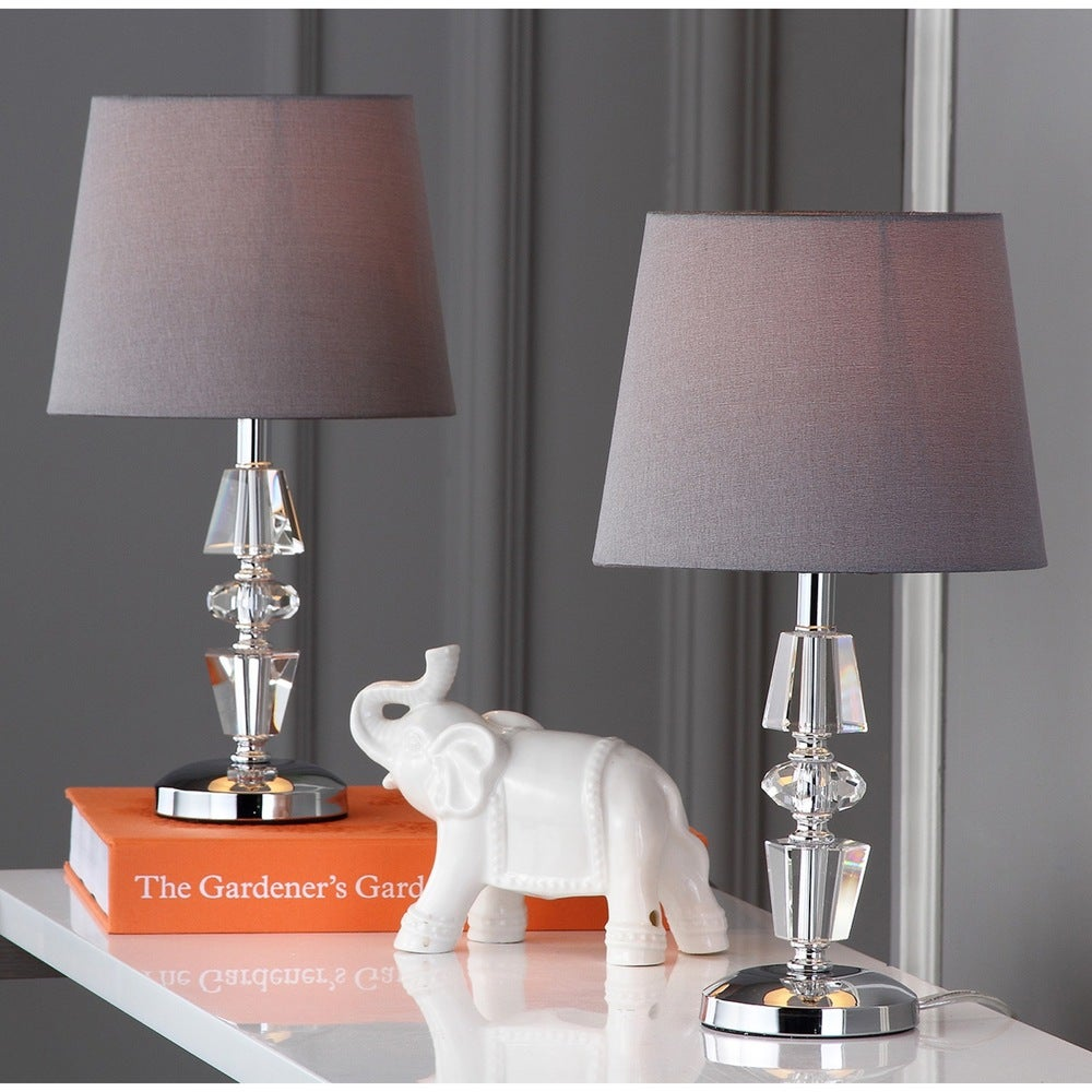 15-inch Crescendo Grey Shade Tiered Crystal Table Lamp (Set of 2) - RoomsandDecor.com
