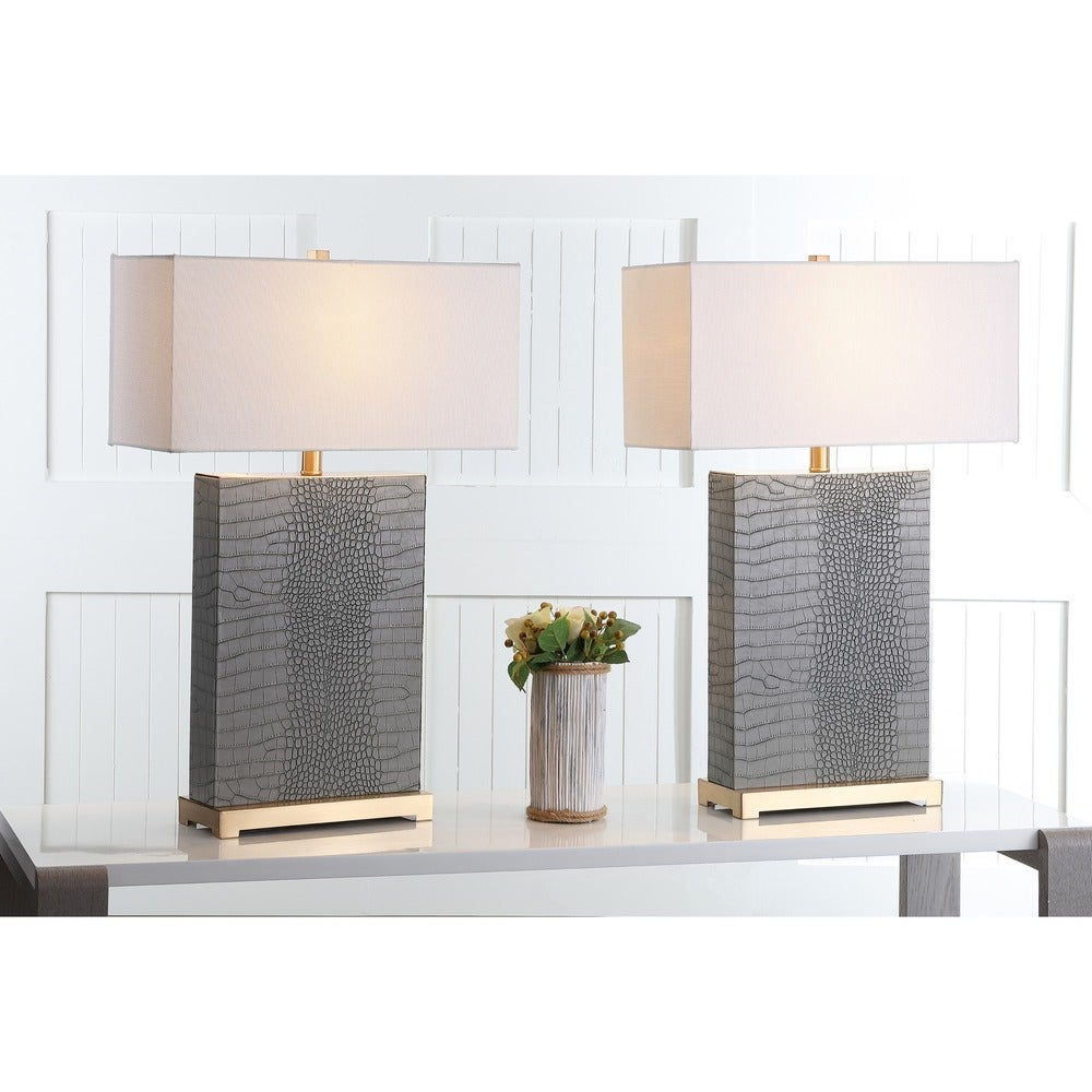 28-inch Joyce Faux Alligator Grey Table Lamp (Set of 2) - RoomsandDecor.com