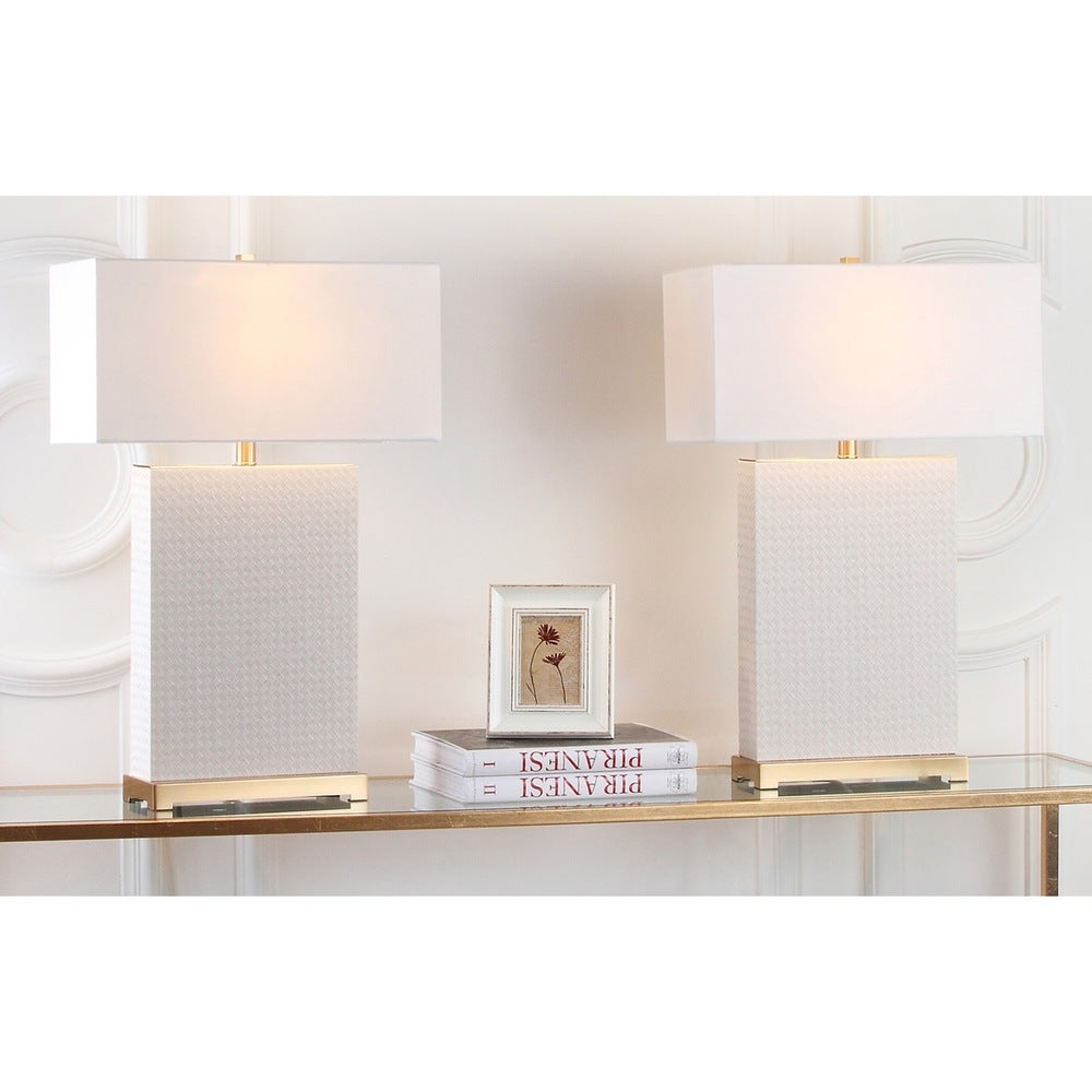28-inch Woven Leather Cream Table Lamp (Set of 2) - RoomsandDecor.com