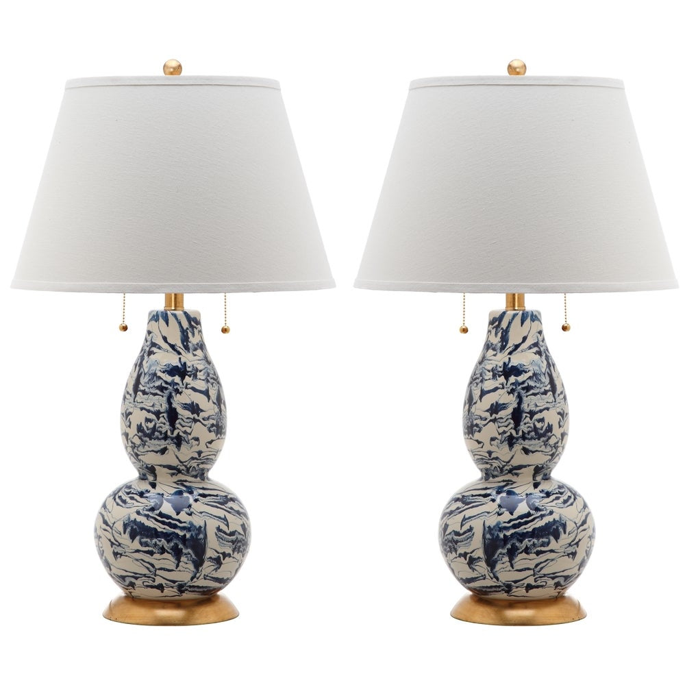 29-inch Navy and White Color Swirls Glass Table Lamp (Set of 2) - RoomsandDecor.com