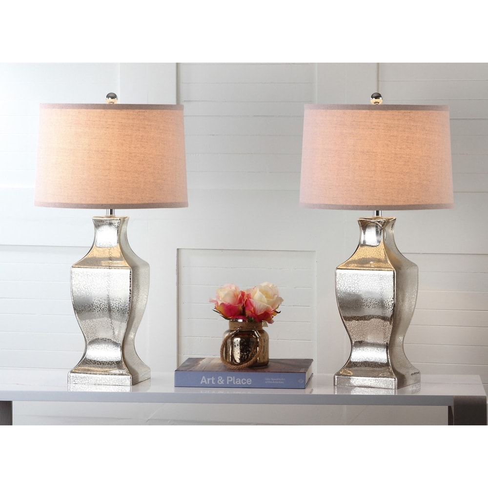 29-inch Antique Silver Glass Bottom Lamp (Set of 2) - RoomsandDecor.com