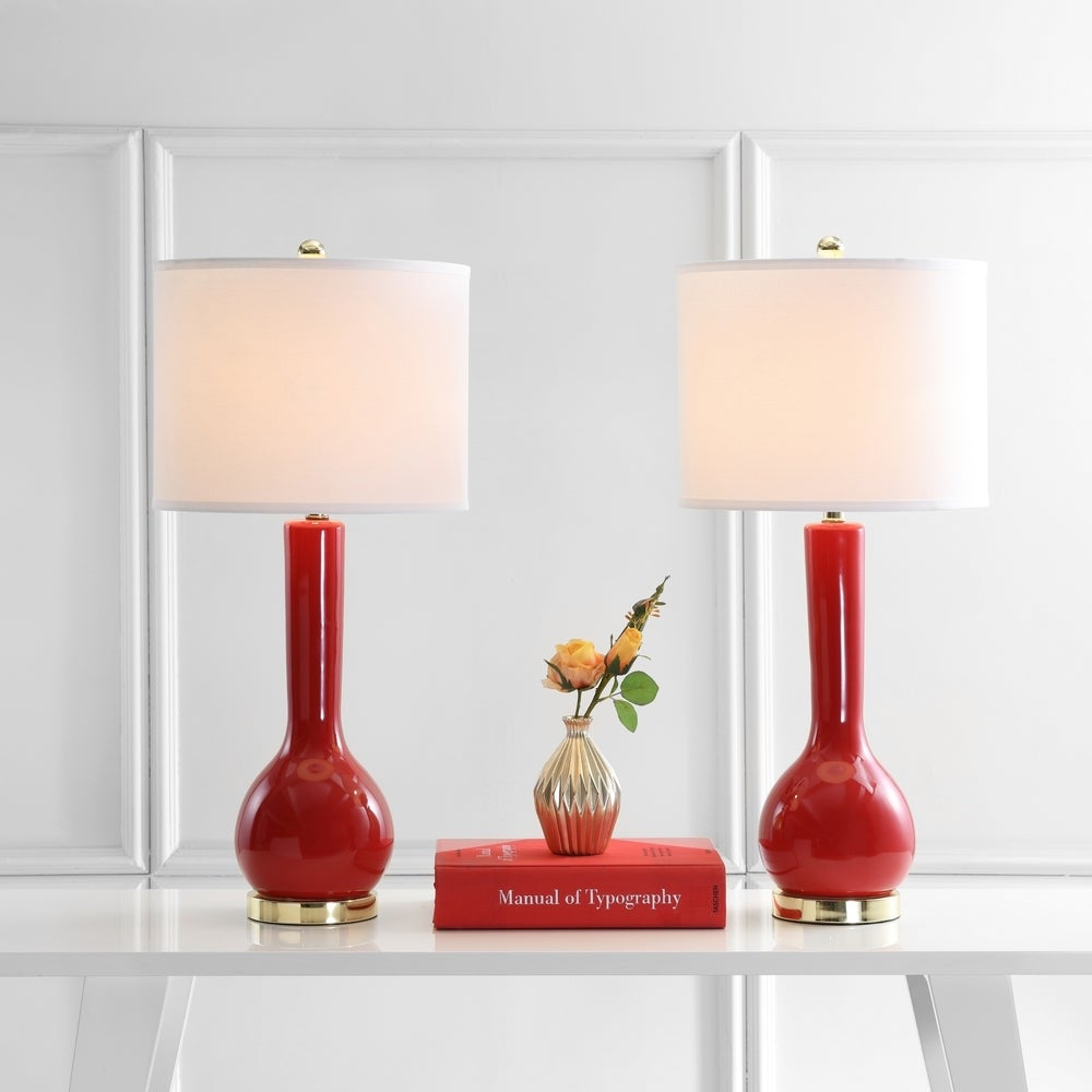 31-inch Ceramic Red Table Lamp (Set of 2) - RoomsandDecor.com