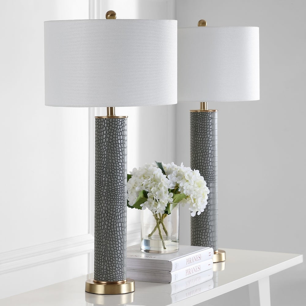 32-inch Faux Alligator Grey Table Lamp (Set of 2) - RoomsandDecor.com