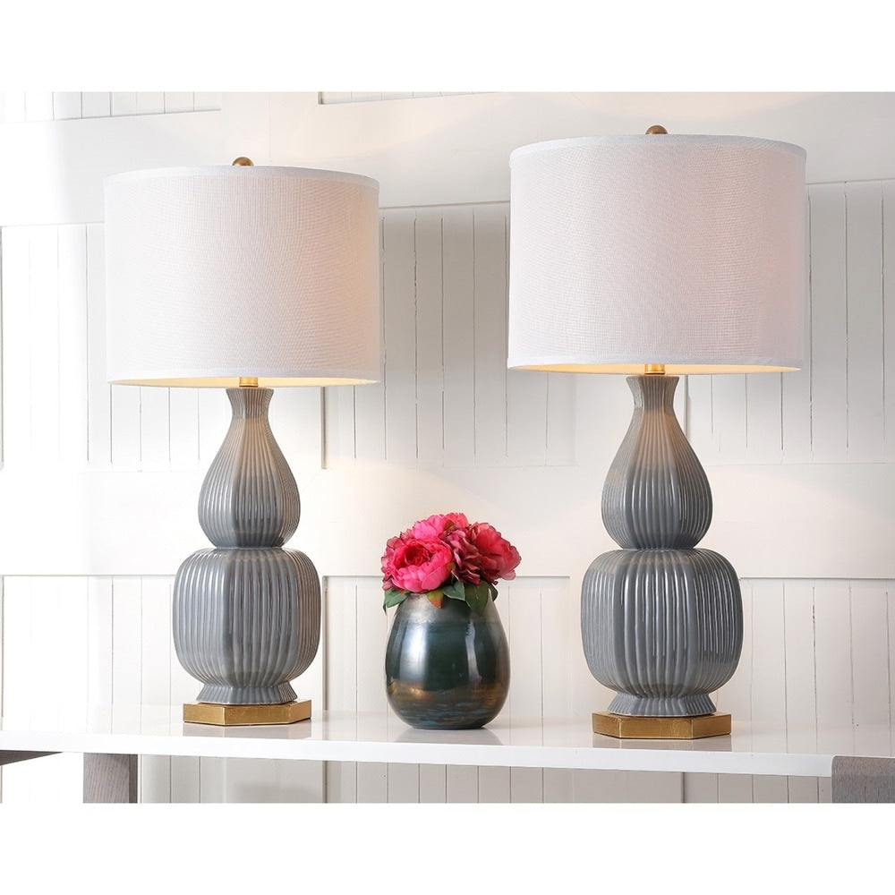 32-inch Cleo Grey/ Gold Table Lamp (Set of 2) - RoomsandDecor.com