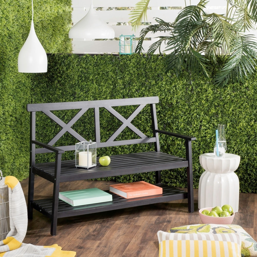 Black 49.21-Inch W Outdoor Bench