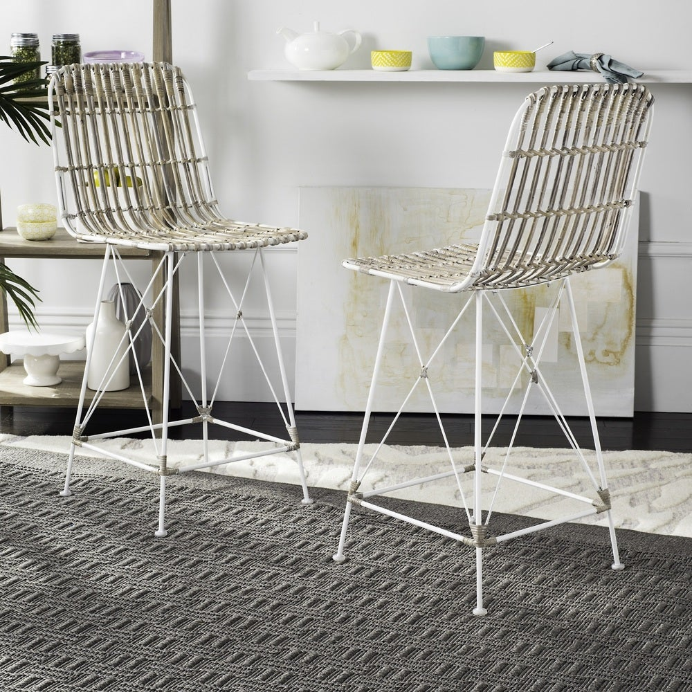 23.6- Inch Minerva Wicker White Wash Counter Stool (Set of 2)