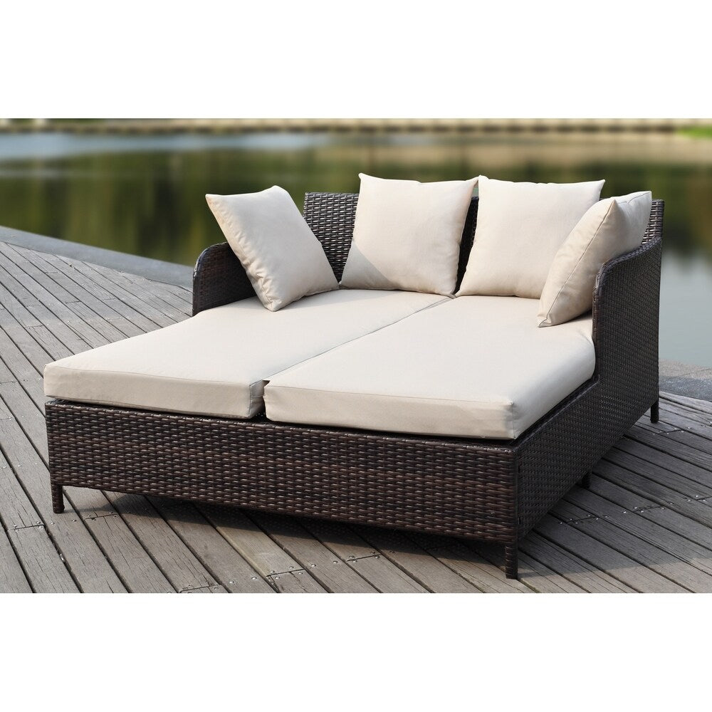 August Brown/ Sand Rattan Wicker Outdoor Sofa Daybed