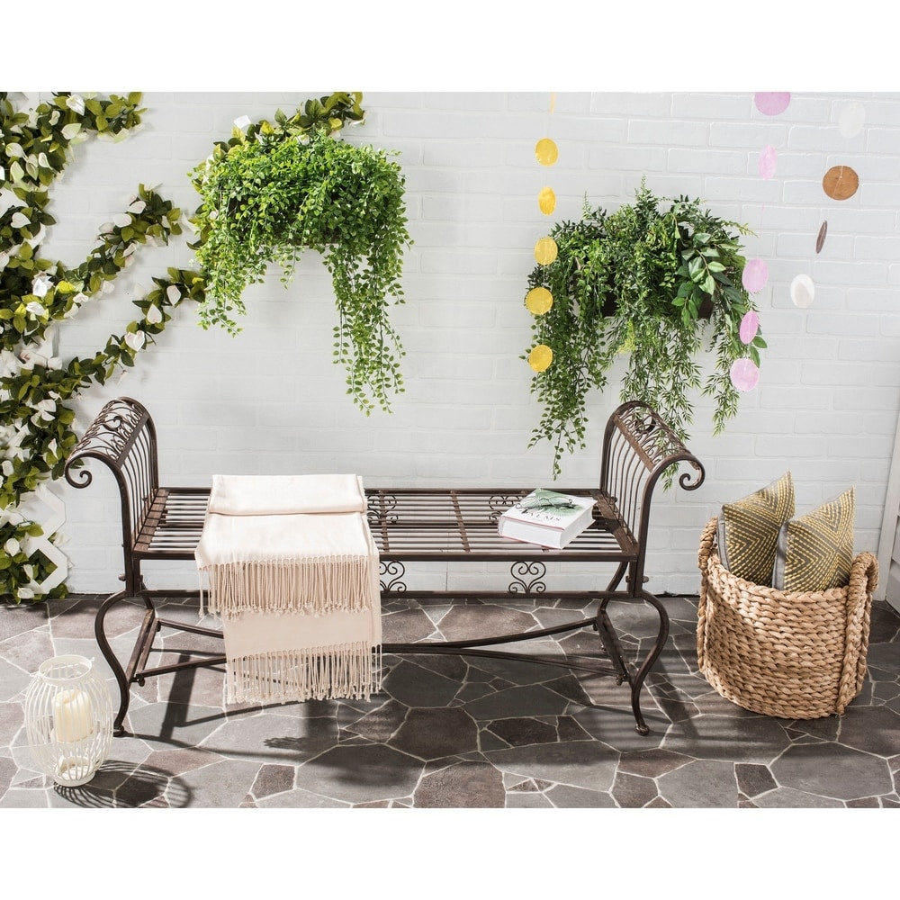 Rustic Brielle Rustic Brown Iron Outdoor Bench