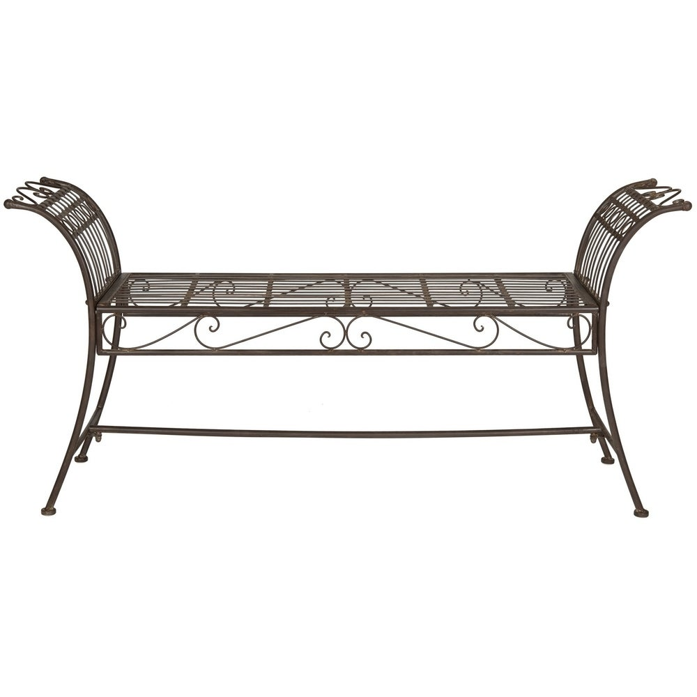 Rustic Hadley Rustic Brown Iron Bench