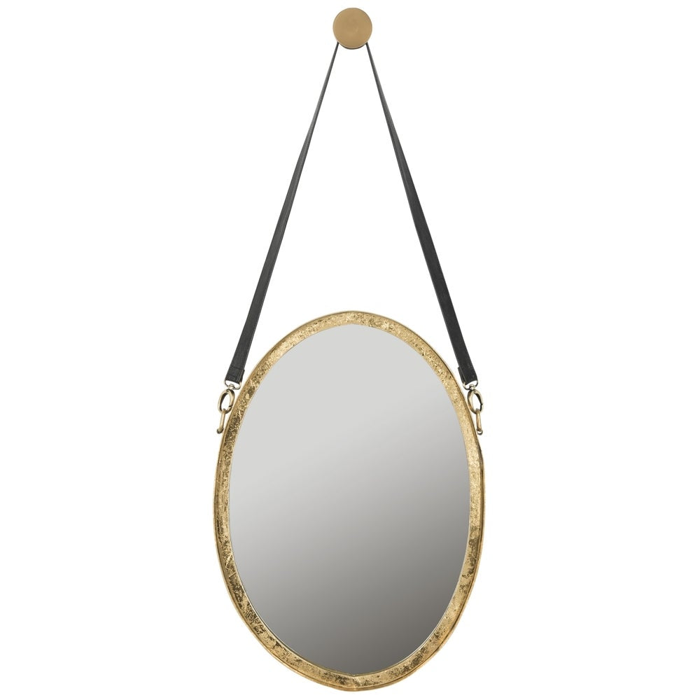 Safavieh Pembroke Strap Antique Gold 40-inch Oval Decorative Mirror - RoomsandDecor.com