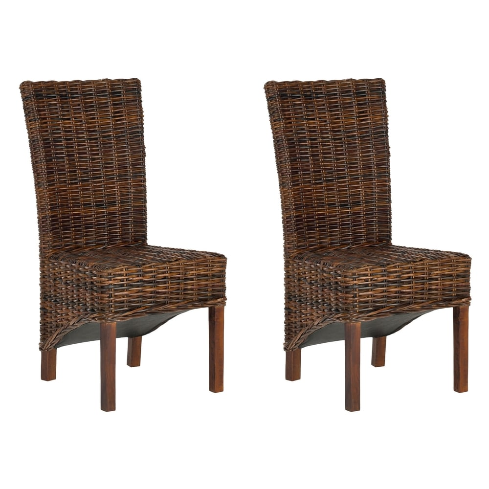 Dining Rural Woven Ridge Dark Brown Wicker Dining Chairs (Set of 2)