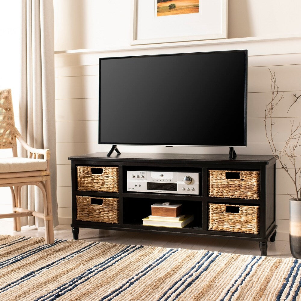 Distressed Black 4-Drawer Storage Entertainment Console - RoomsandDecor.com