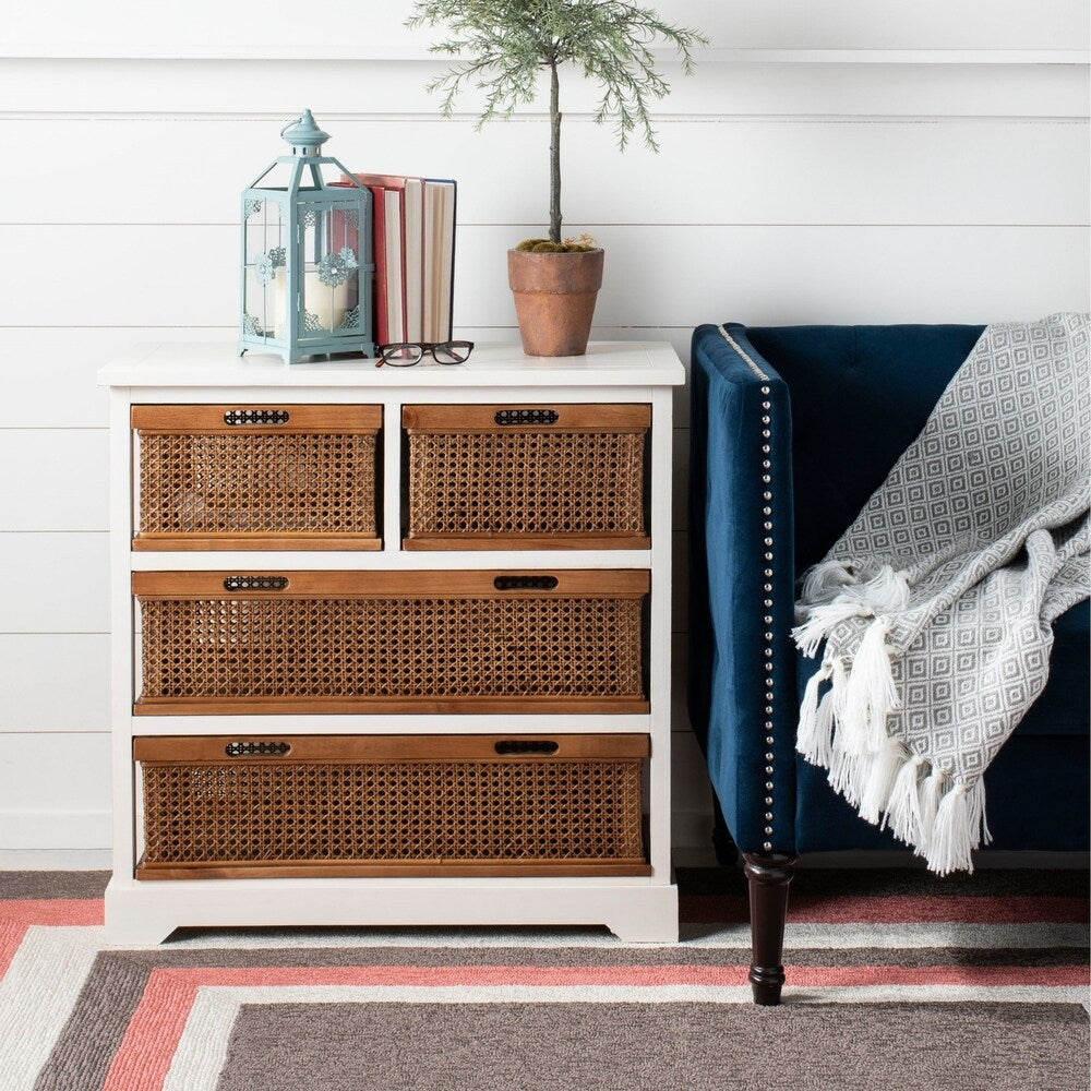 York 4-drawer White Storage Cabinet Chest