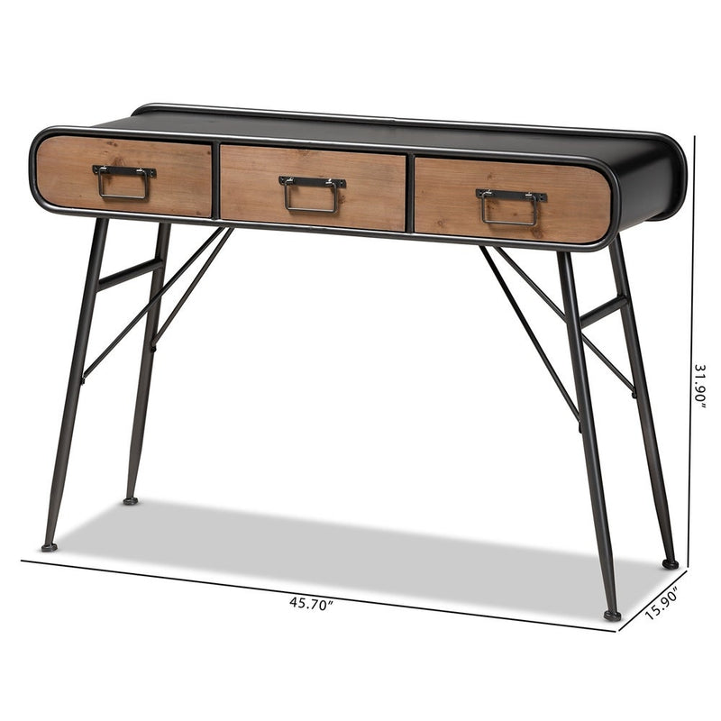 Santo Modern and Contemporary Industrial 3-Drawer Console Table