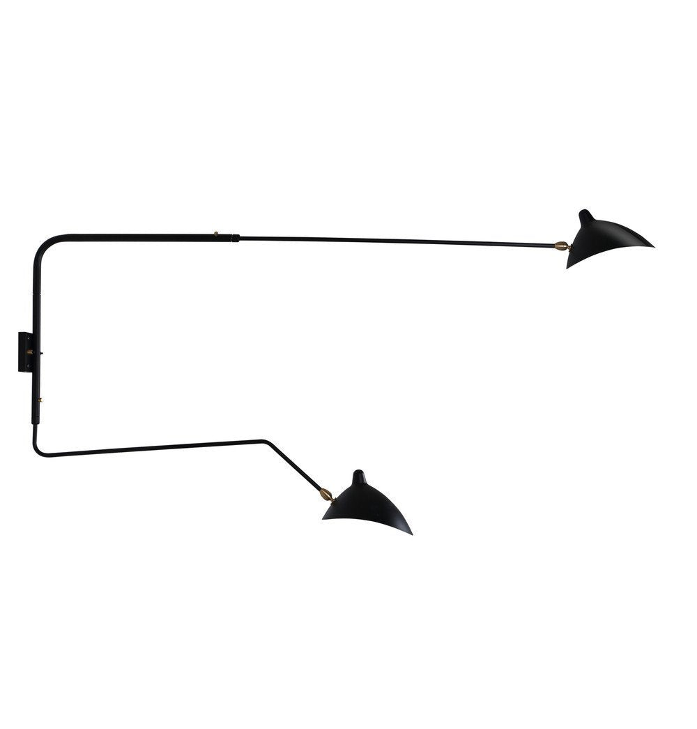 Serge Rotating Sconce Two Arms (1 Curved) Wall Lamp - Reproduction