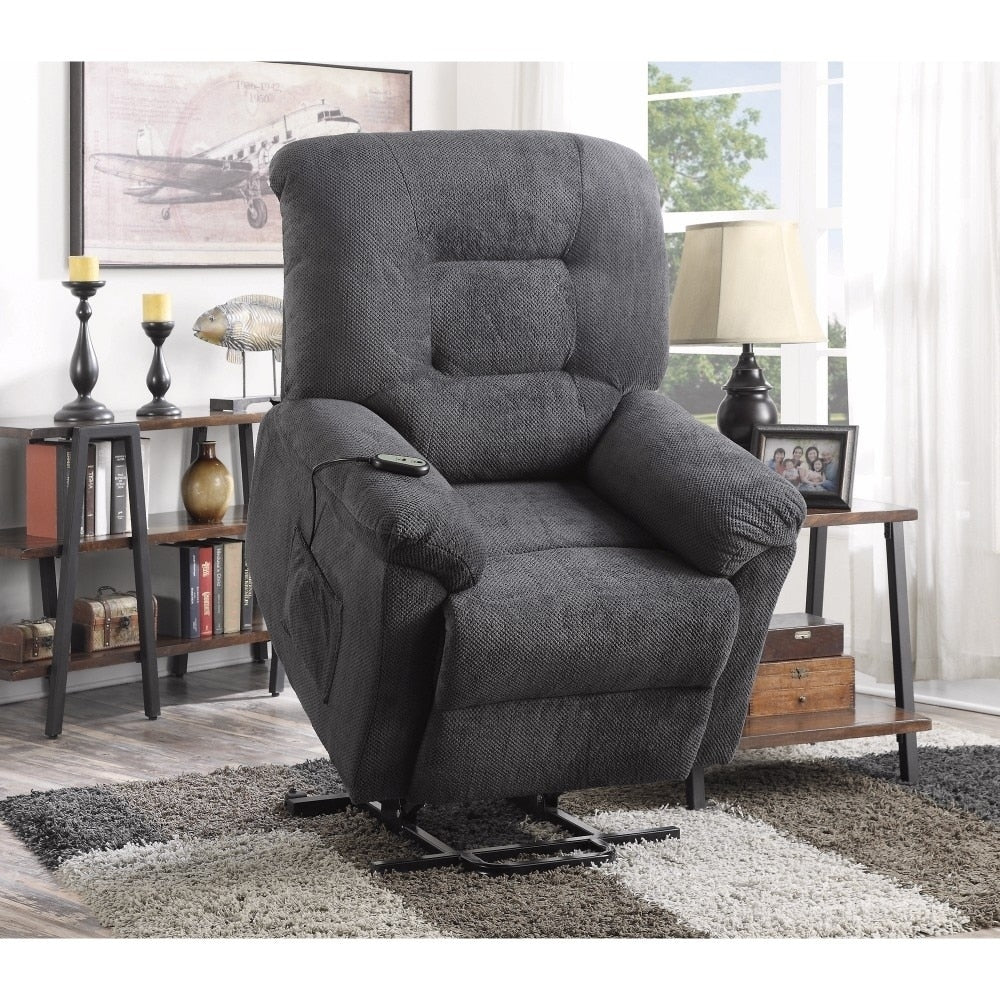 Splendid Gray Upholstery Power lift Recliner - RoomsandDecor.com
