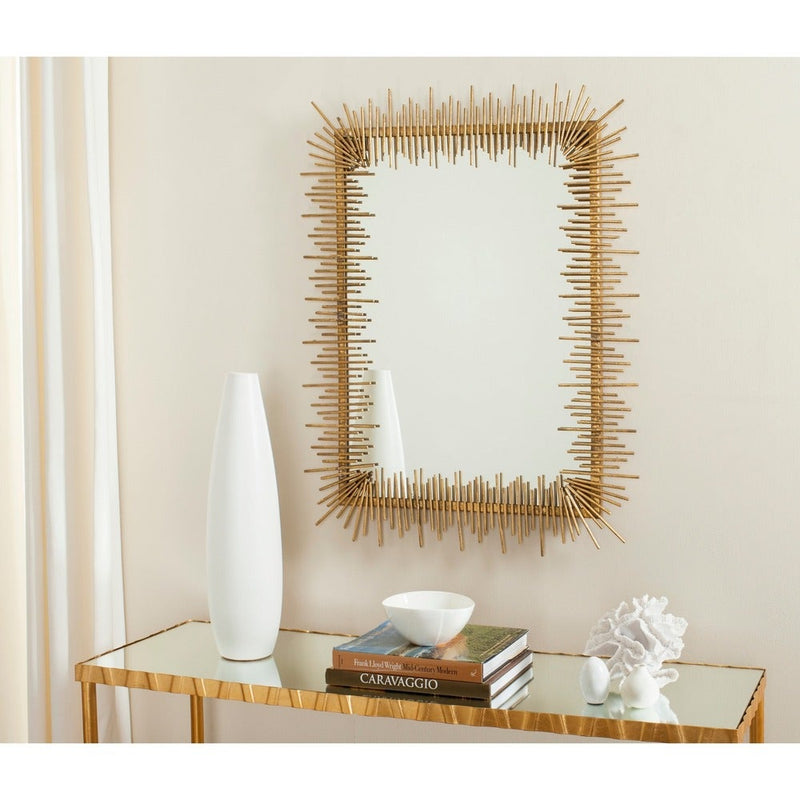 Lund Dark Brown Wood Modern Mirror