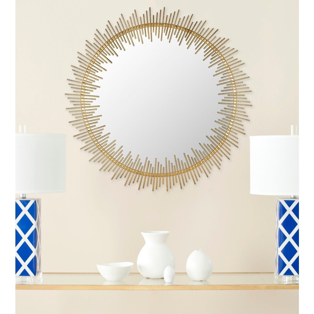 Sunray Circle Antique Gold 31-inch Round Decorative Mirror - RoomsandDecor.com