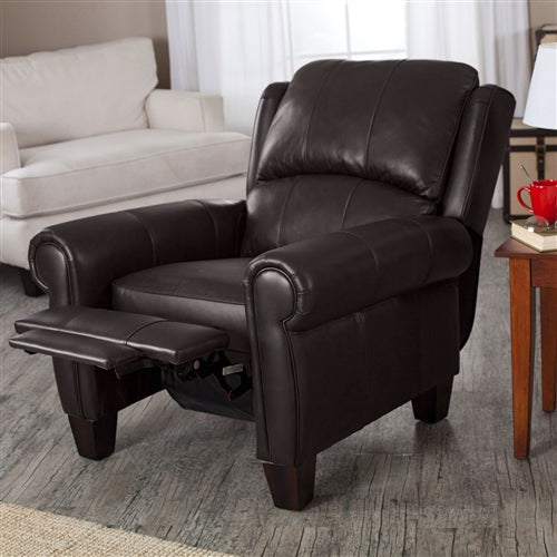 Top-Grain Brown Leather Wing-back Club Chair Recliner - RoomsandDecor.com
