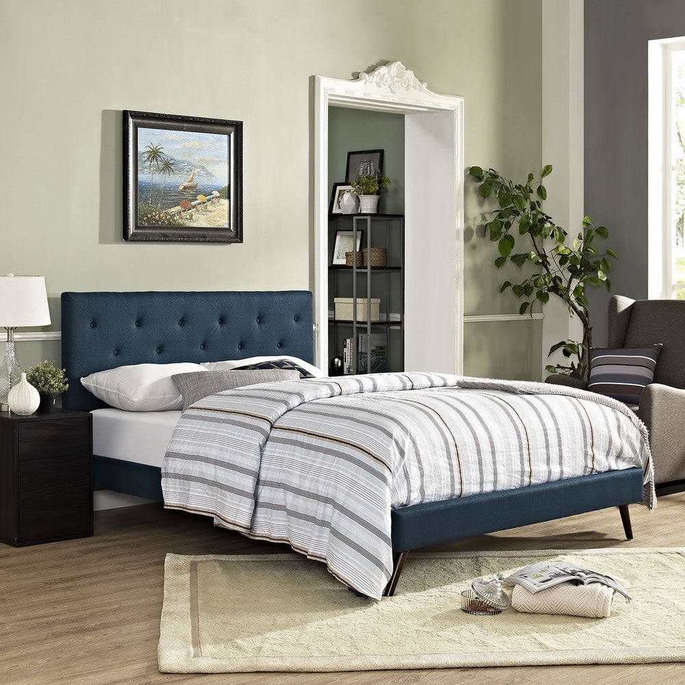 Terisa Azure Fabric Platform Bed with Round Splayed Legs - King