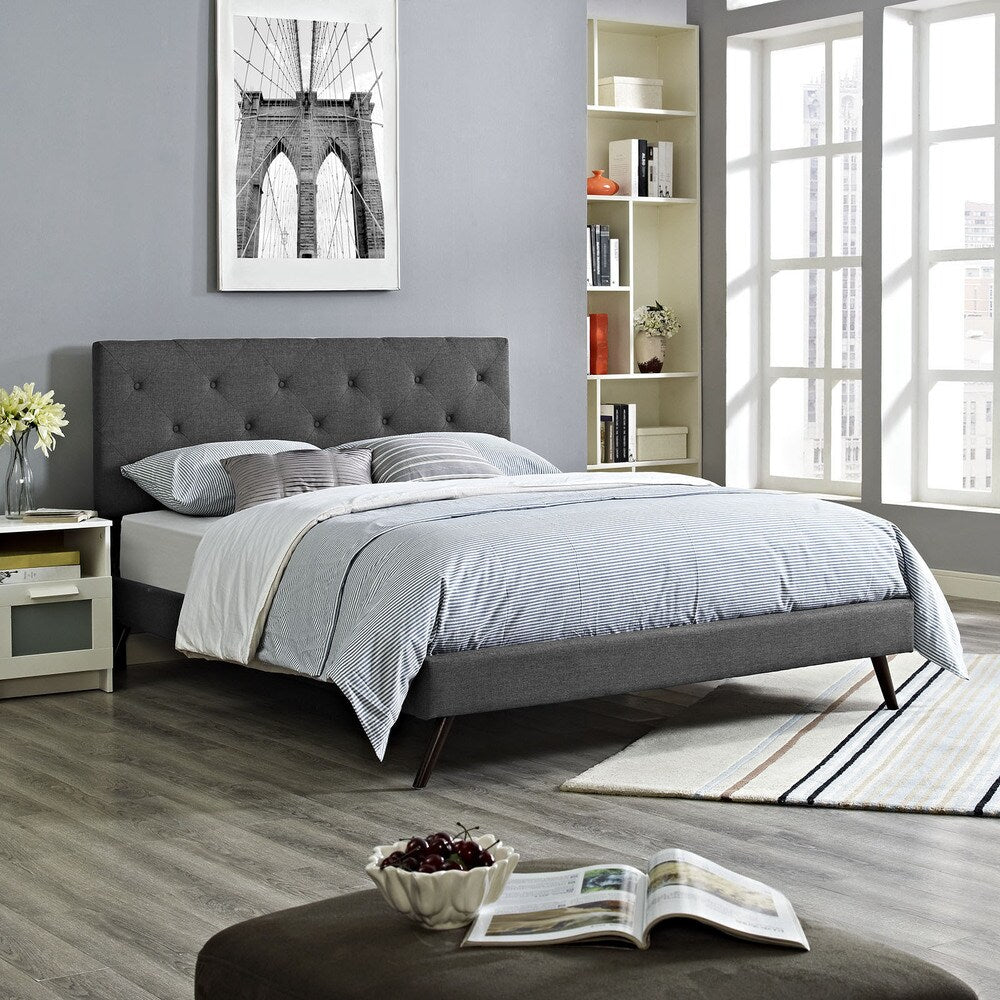 Terisa Grey Fabric Platform Bed with Round Splayed Legs - King