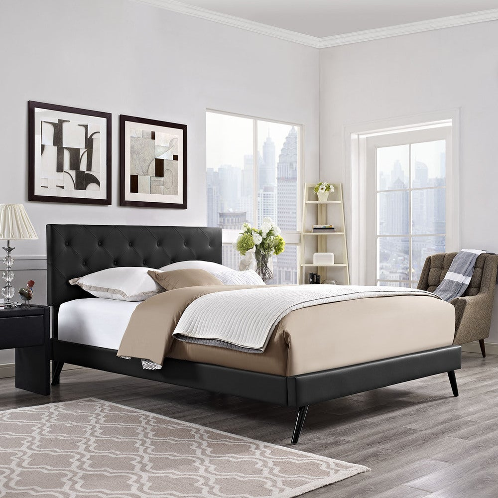 Terisa Black Vinyl Platform Bed with Round Splayed Legs - Queen