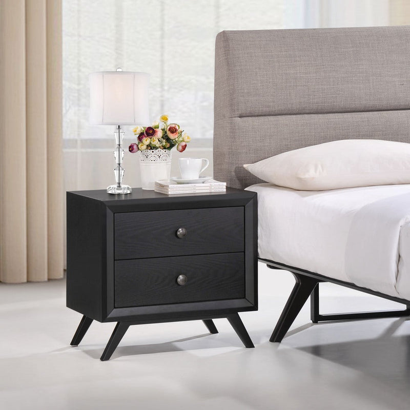 Contemporary Fabric 2-Drawer Nightstand