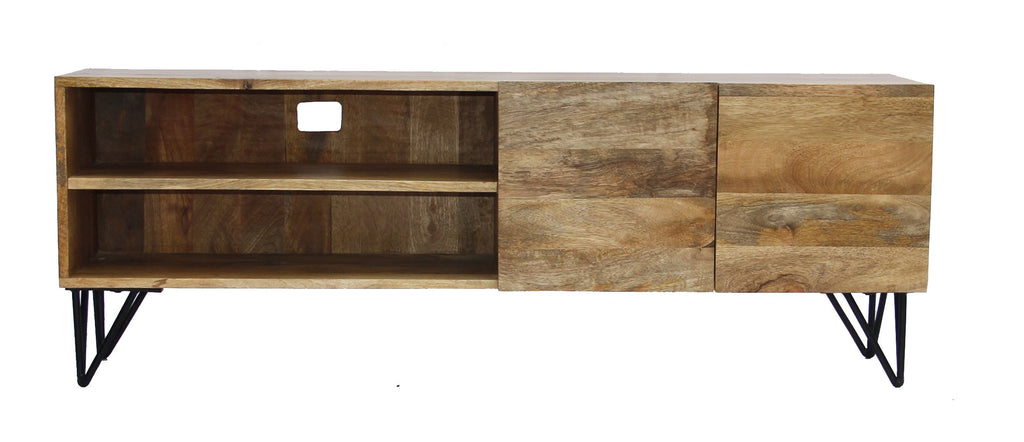 Industrial Style Mango Wood and Metal Tv Stand