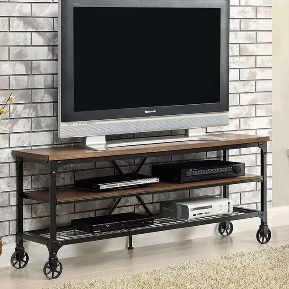 72-inch Metal and Wood Industrial TV Stand - RoomsandDecor.com