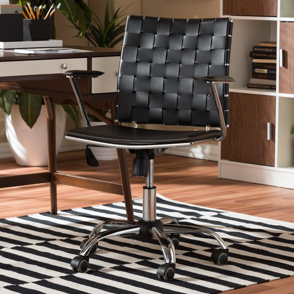 Baxton Studio Vittoria Black Leather Modern Office Chair - RoomsandDecor.com