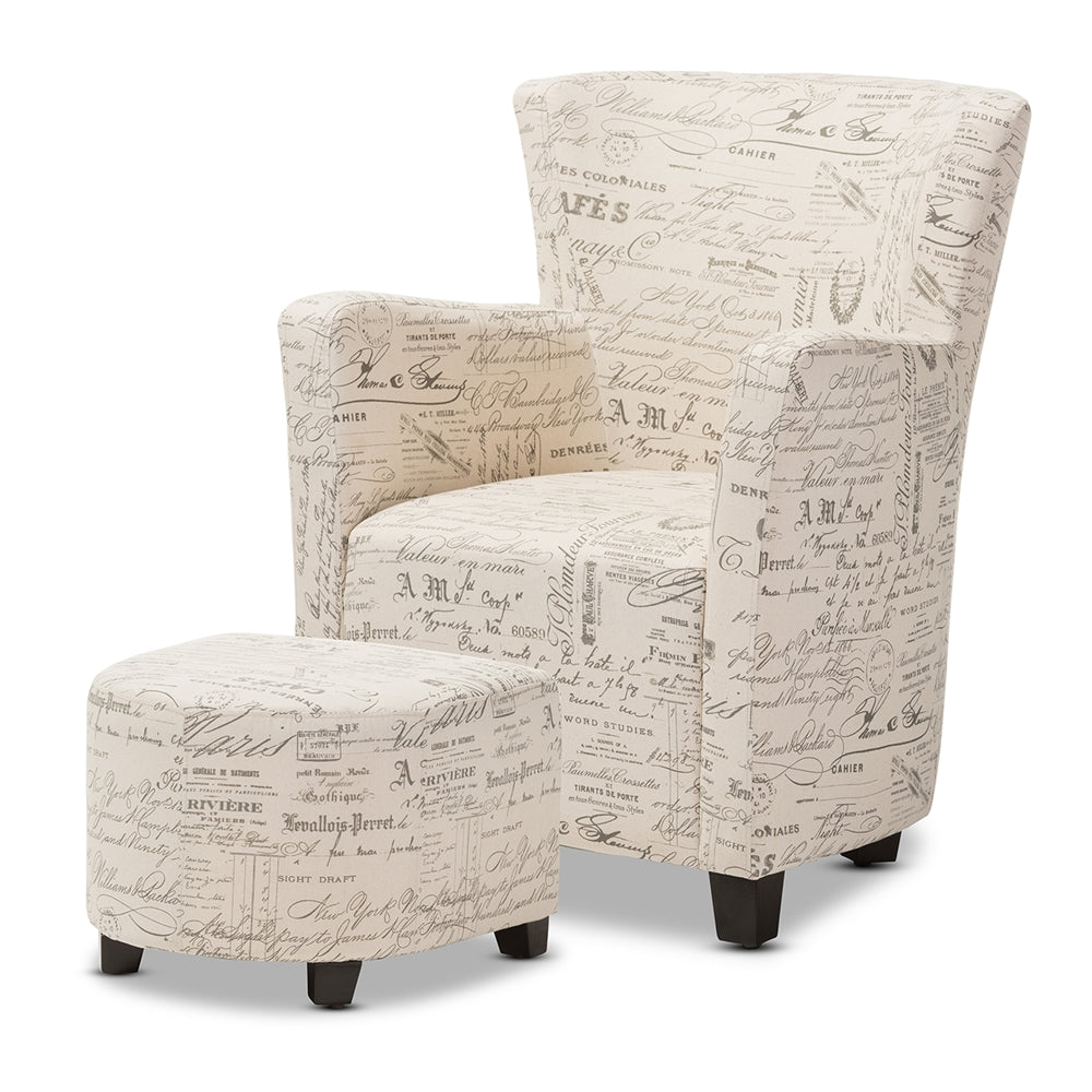 Laurant French Script Chair and Ottoman Set - RoomsandDecor.com