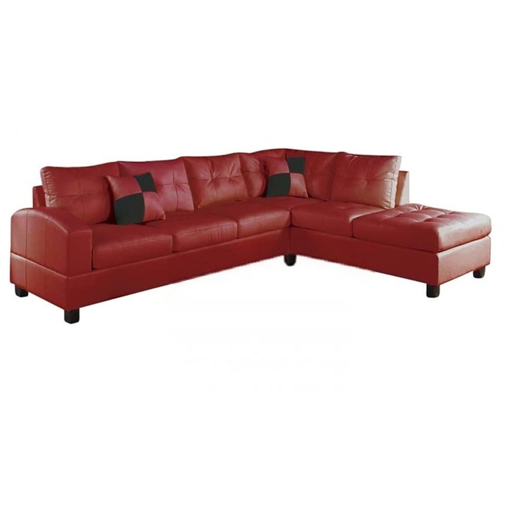 Red Leatherette Upholstery Sectional - RoomsandDecor.com