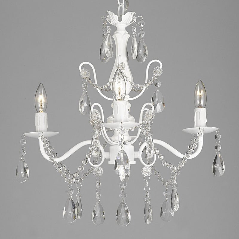 Iron and Crystal White 4-light Chandelier Pendant - RoomsandDecor.com