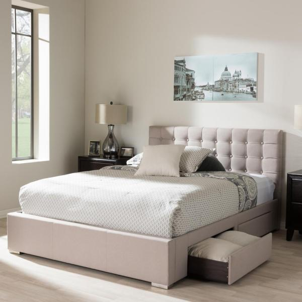 O'Leary Black Modern Tufted Platform Queen Bed