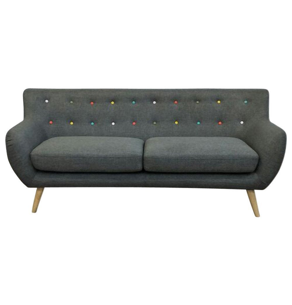 Ebba 3-Seater Sofa - Grey (with multicolor buttons)