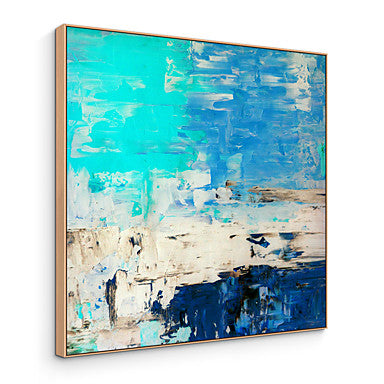 Framed  Turquoise Blue Abstract Art Painting Canvas Wall Art - RoomsandDecor.com