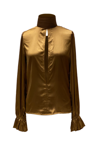SILK OCRUS BLOUSE