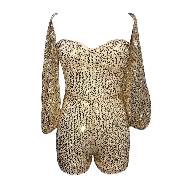 SEQUINED GOLD ROMPER