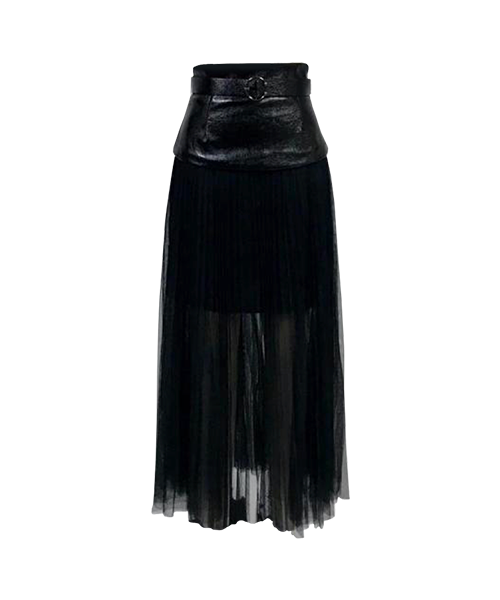 LEATHER TULLE SKIRT